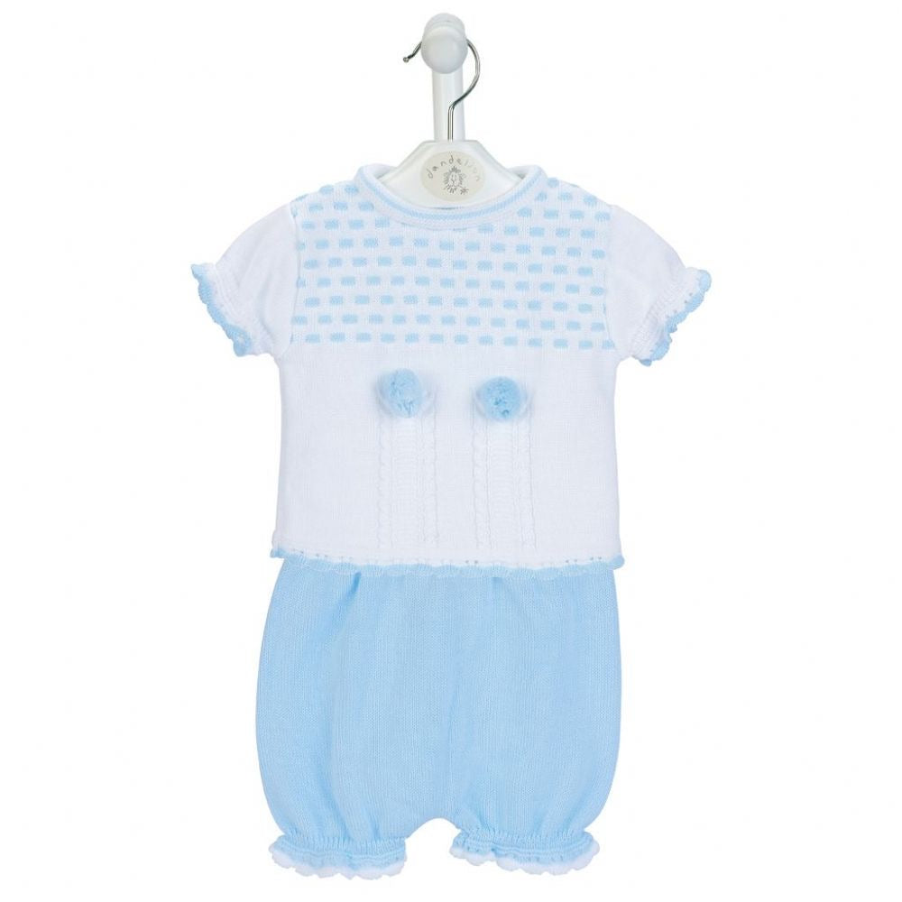 Dandelion Pom Pom Knitted Set Blue