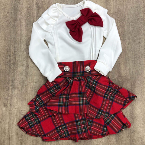 Red Tartan Skirt Set