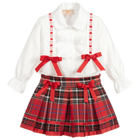 Caramelo Kids Tartan Skirt Set