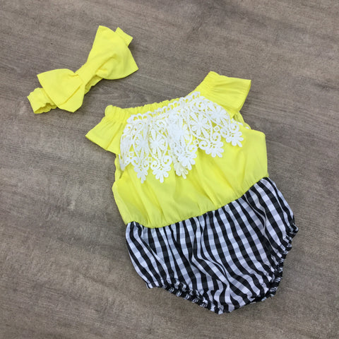 Yellow and Navy Gingham Lace Romper
