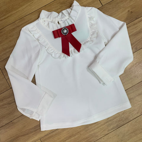White Ruffle Blouse with Bow
