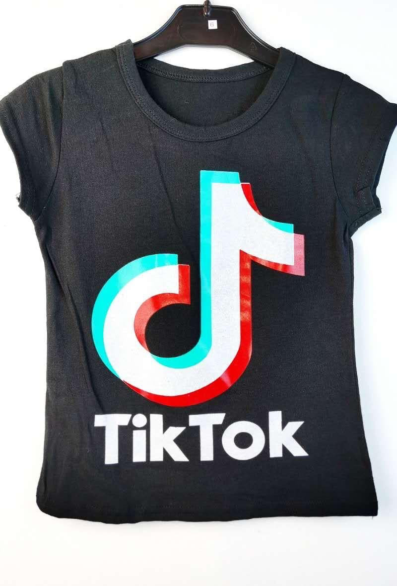 Tik Tok Printed T Shirt Black