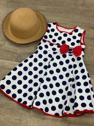 Bo-Peep Polka Dot Dress White Navy