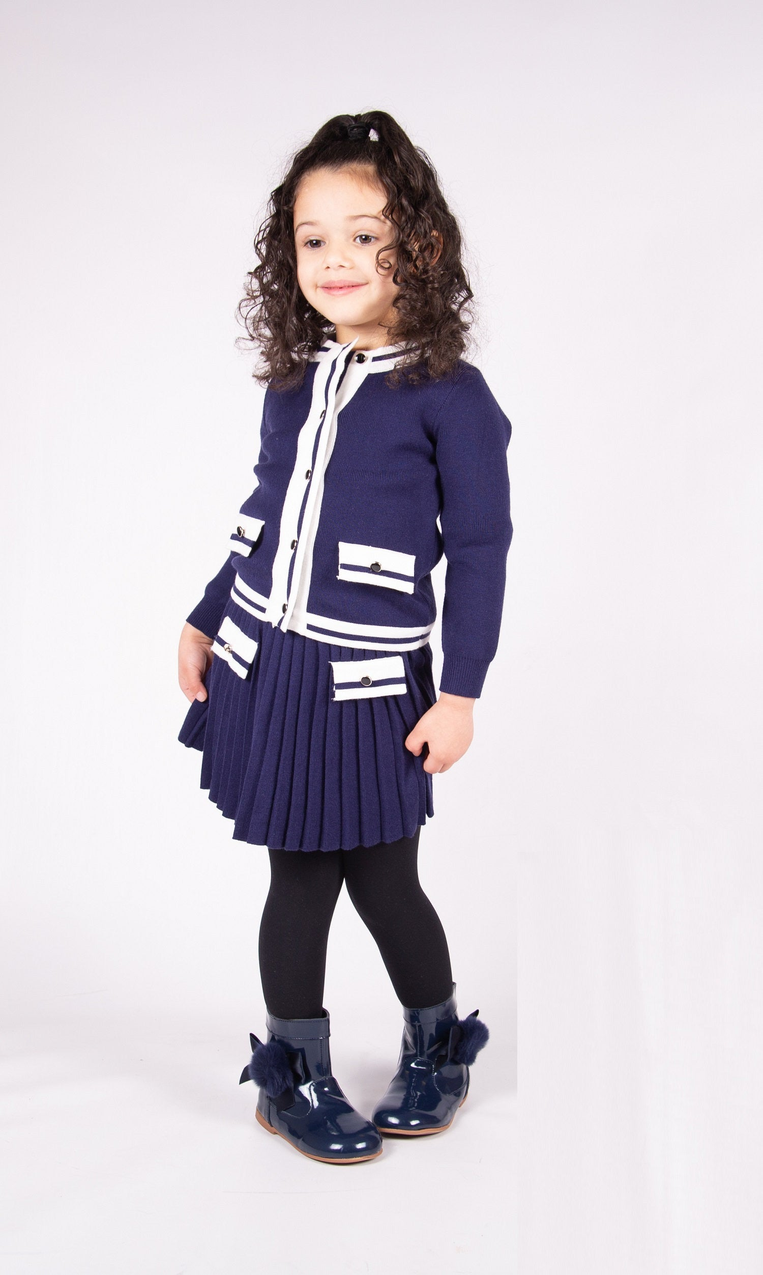 Beau Kid Knitted Skirt Set Navy