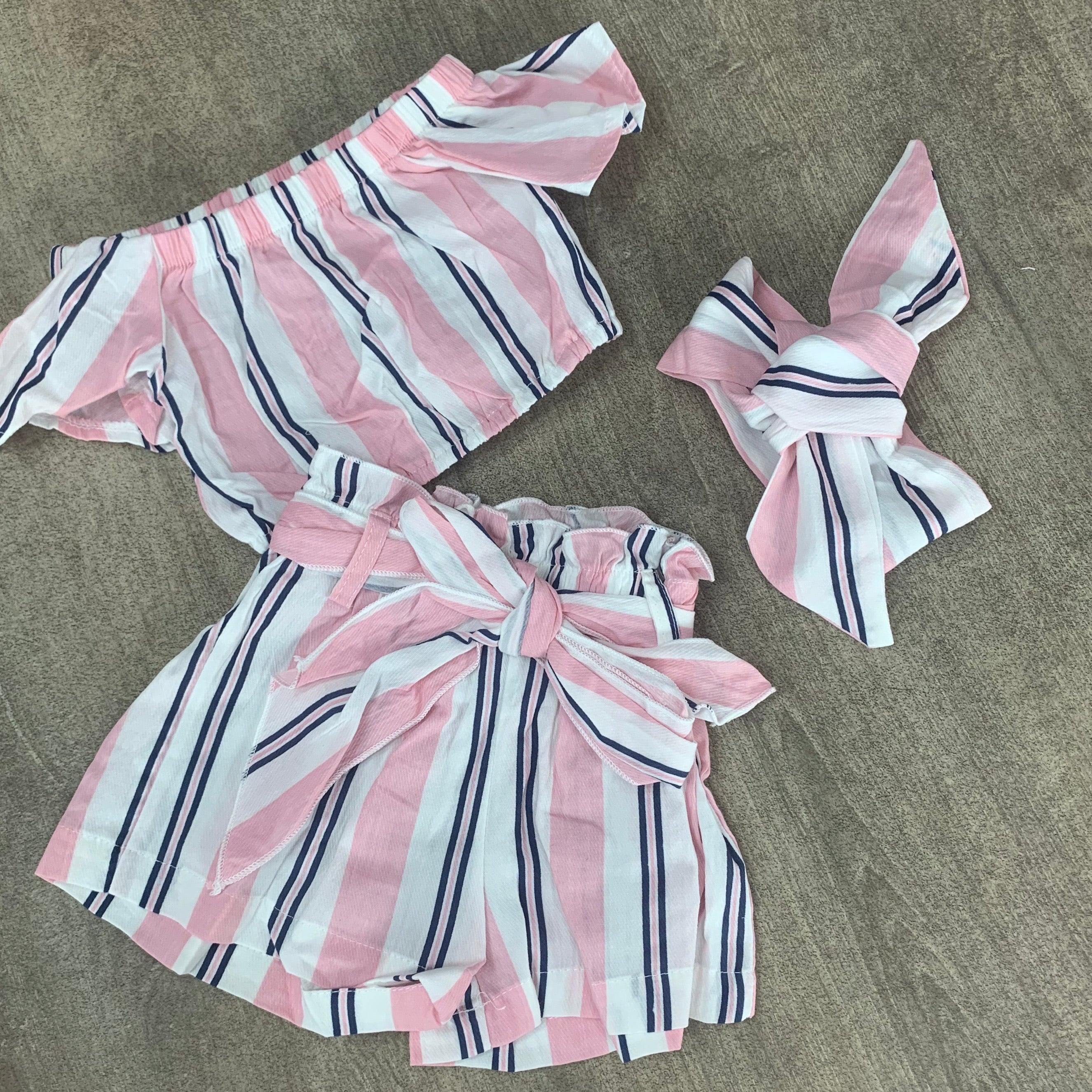 3 Piece Crop Summer Short Set Pink