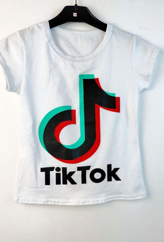 Tik Tok Printed T Shirt White