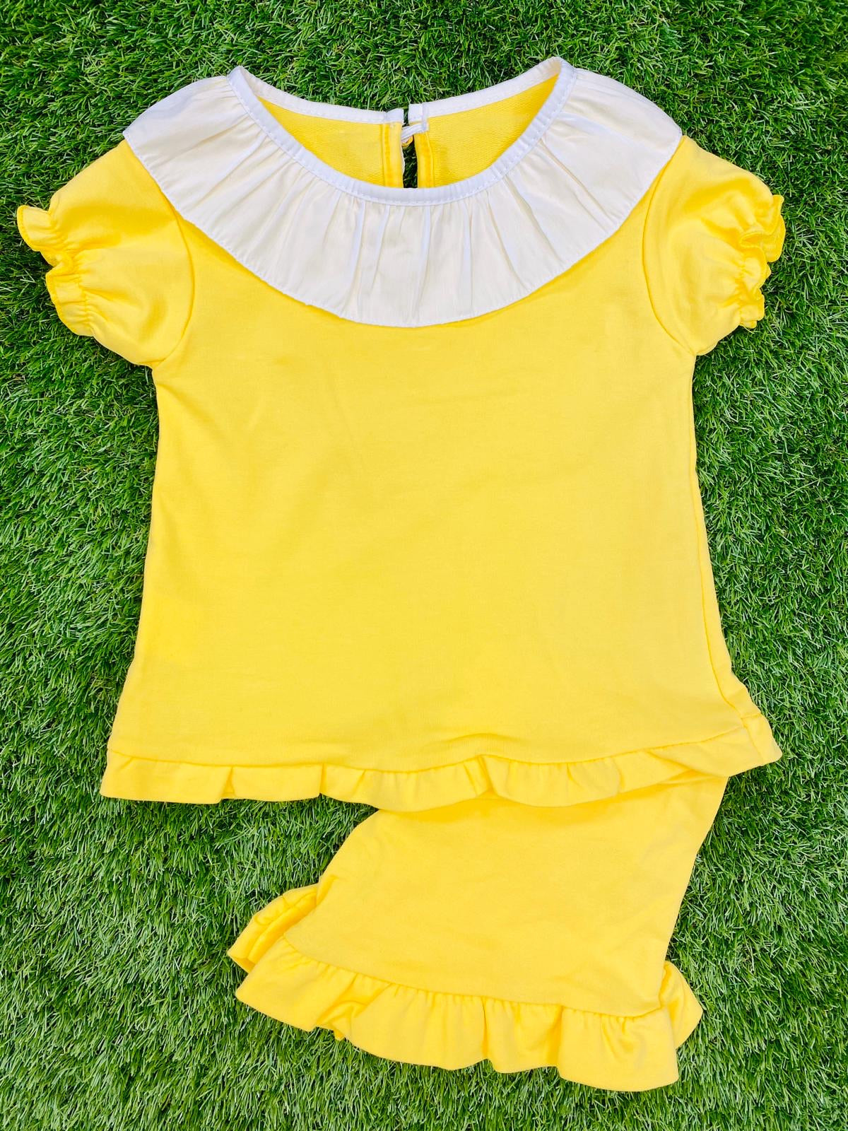 Lemon Ruffle Collar Jersey Short Set