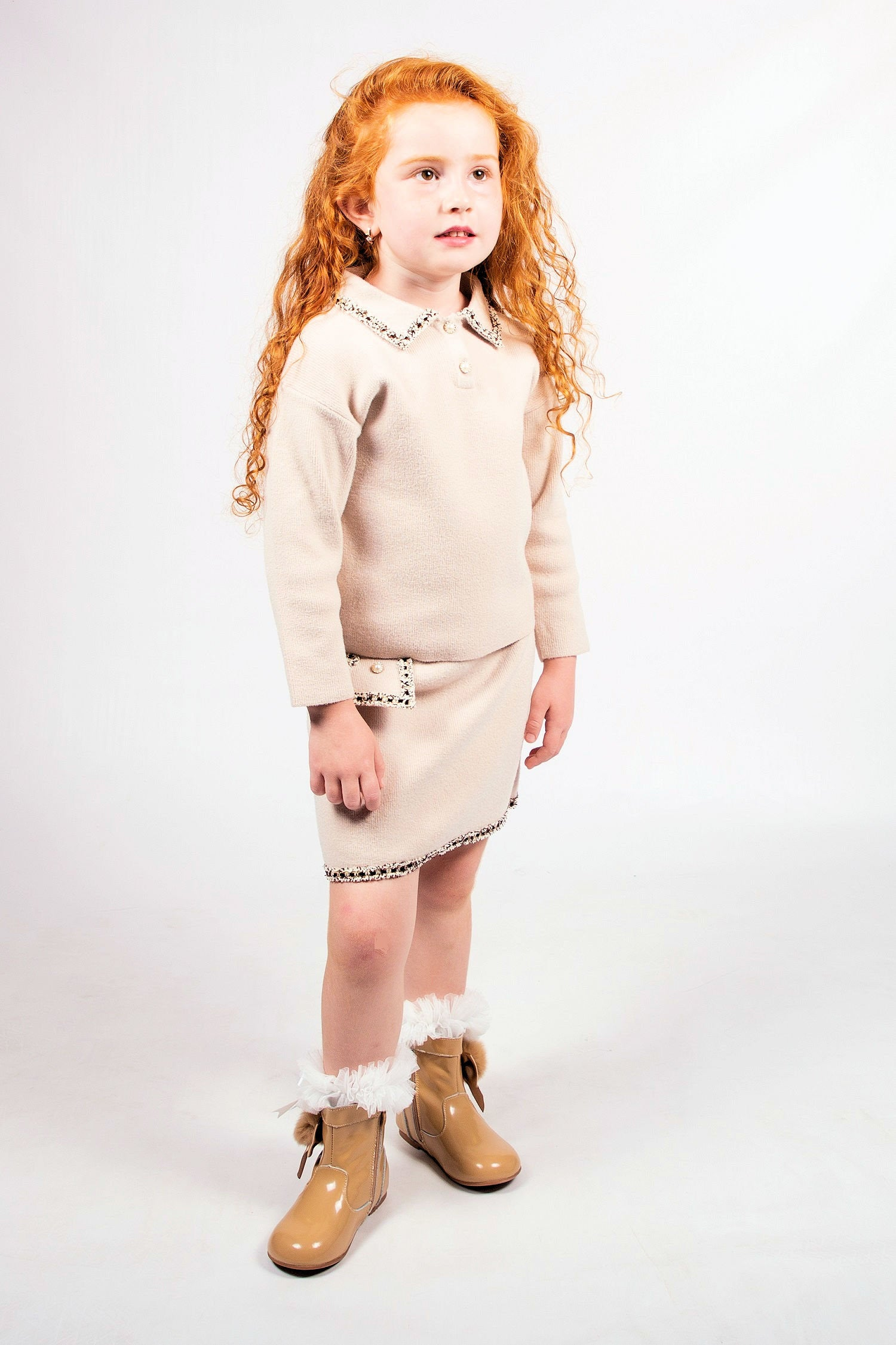 Beau Kid Hope Knitted Skirt Set Camel