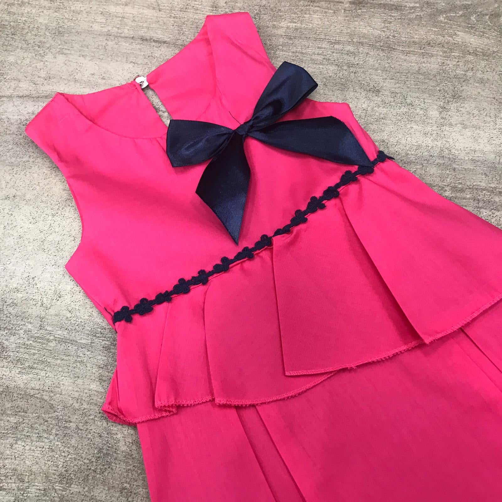 Flared Cotton Cerise Bow Dress