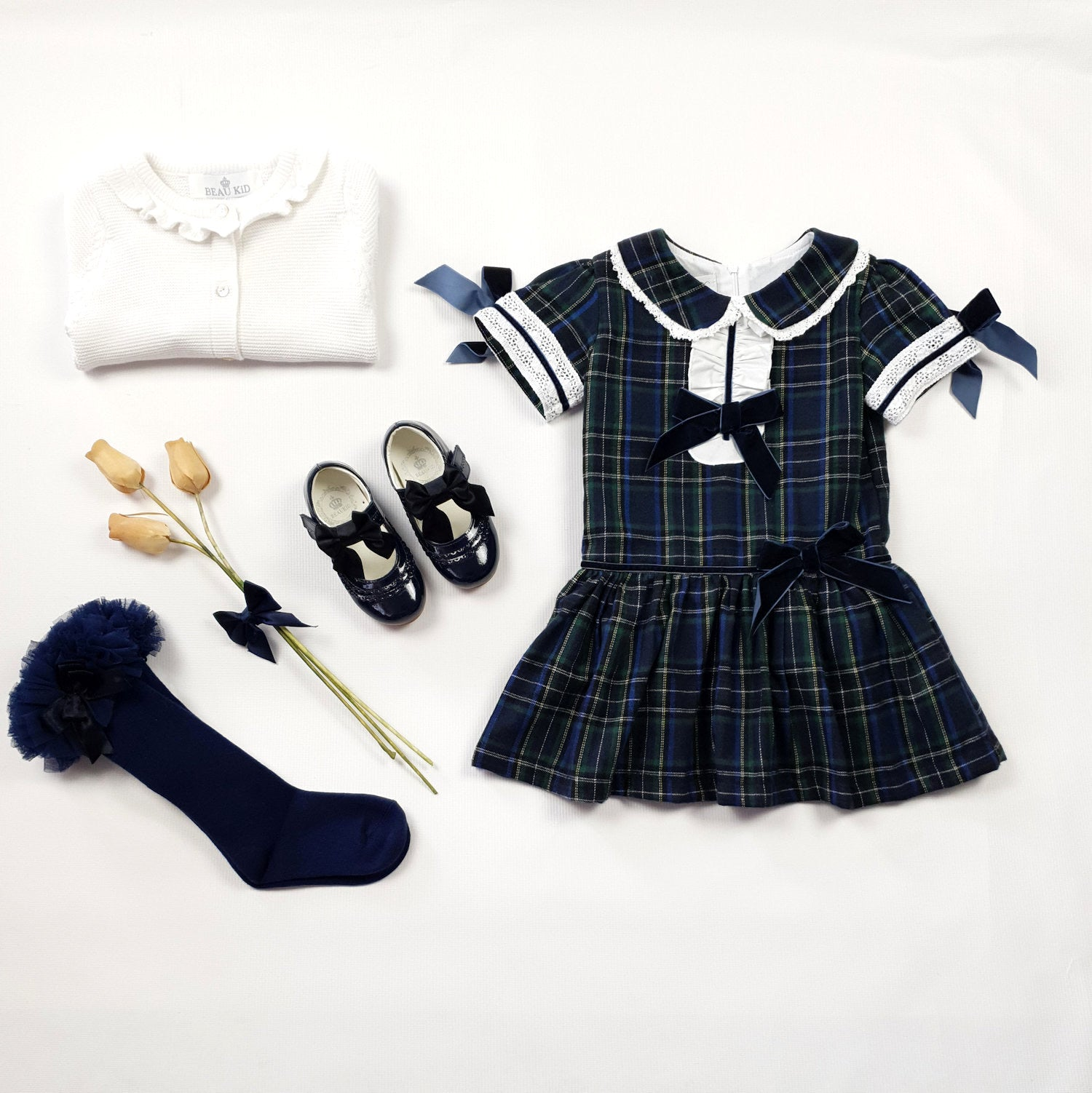 Beau Kid Navy Tartan Dress