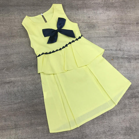 Flared Cotton Lemon Bow Dress