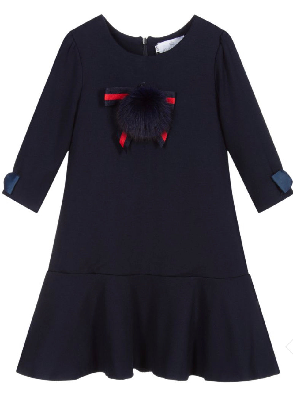 Beau Kid Navy Pom Pom Dress