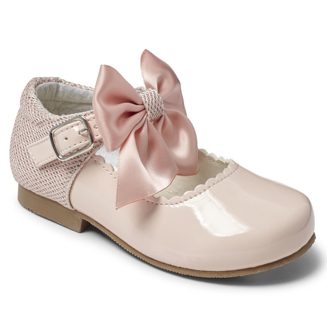 Kristy Pink Bow Hard Sole Shoes