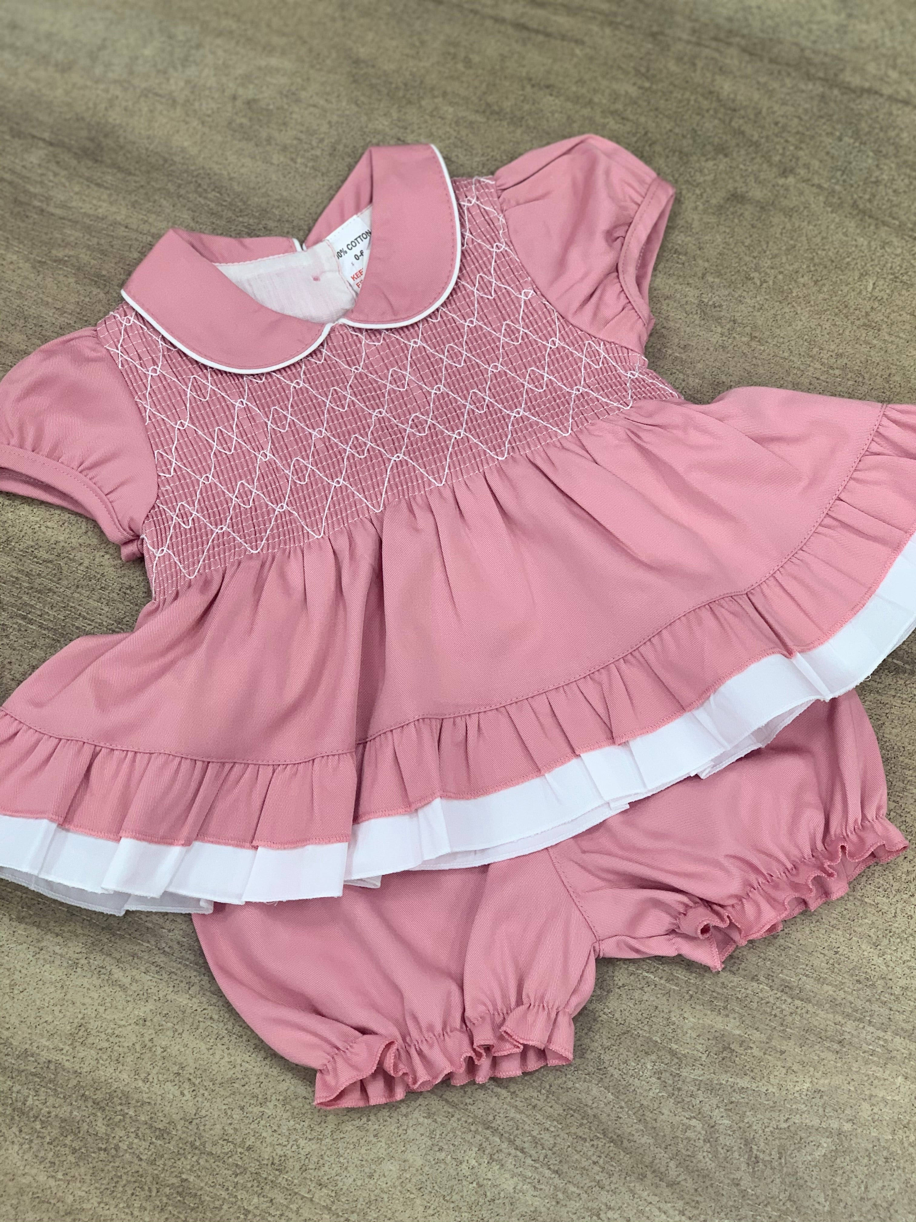 Pastel Pink Dress & Bloomer Set