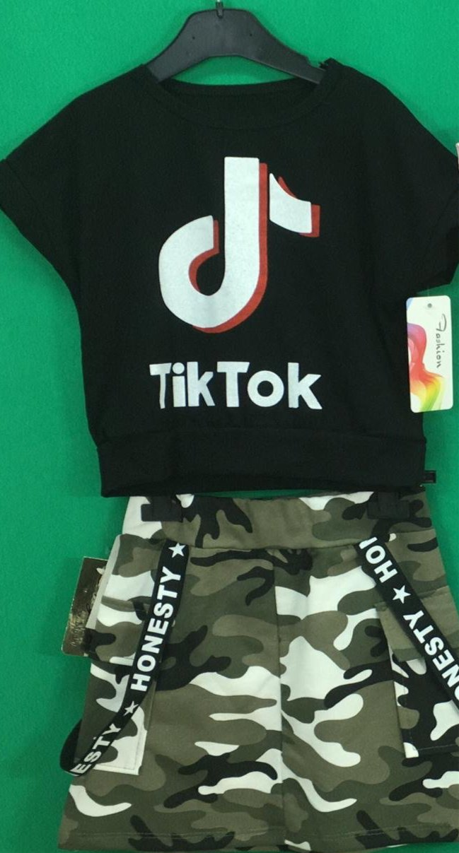 Tik Tok Military Skirt Set Black