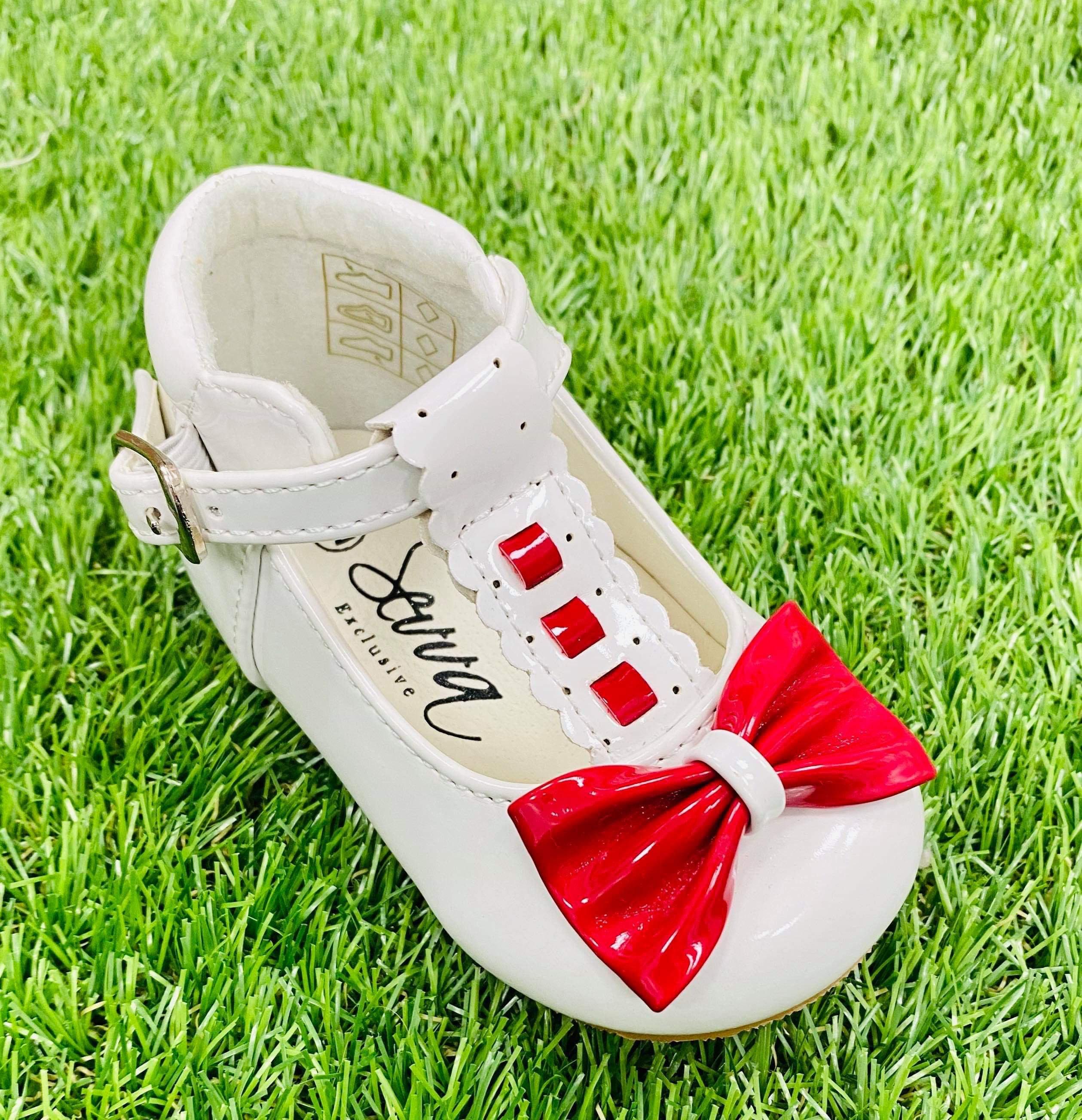 Special Offer Emily White/Red Bow Shoe