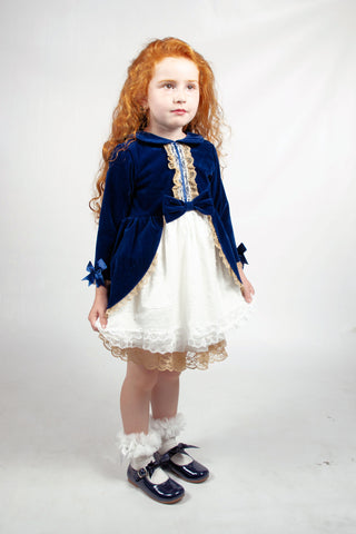 Beau Kid Velvet Elyana Navy Dress