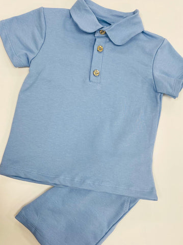 Boys Jersey Cotton Polo Set Sky Blue