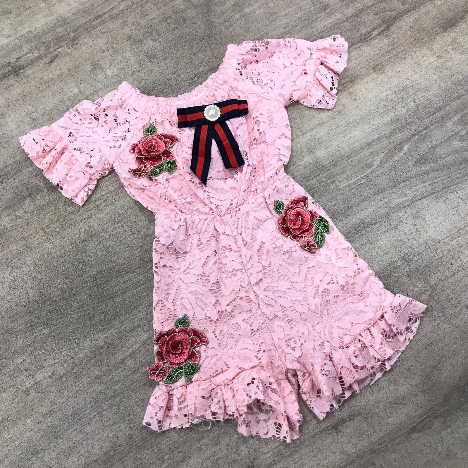 Inspired Lace Playsuit Pink