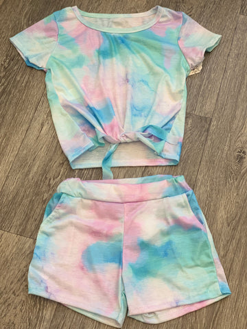 Unicorn Pink Tie Dye Short Set