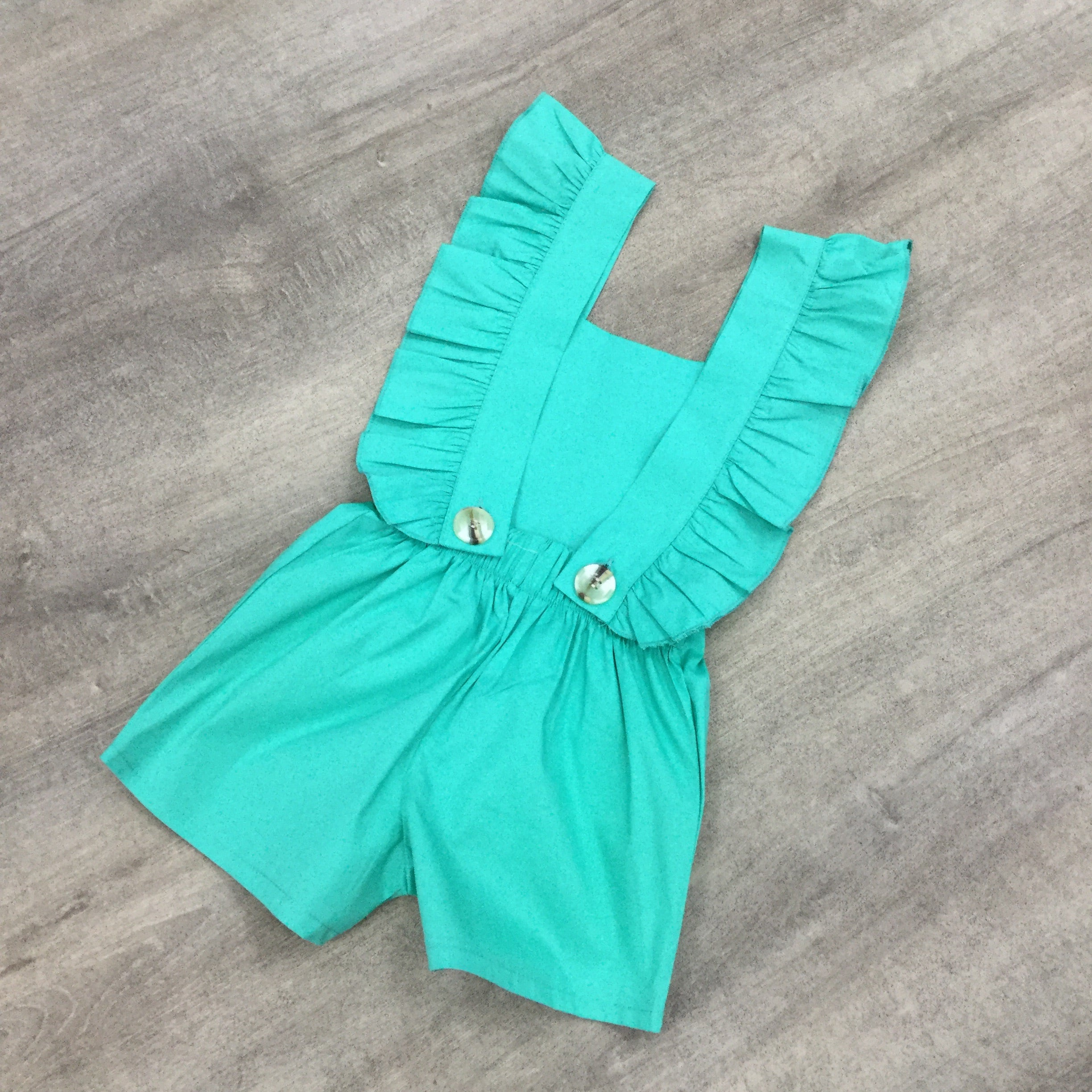 Backless Ruffle Dungarees Green