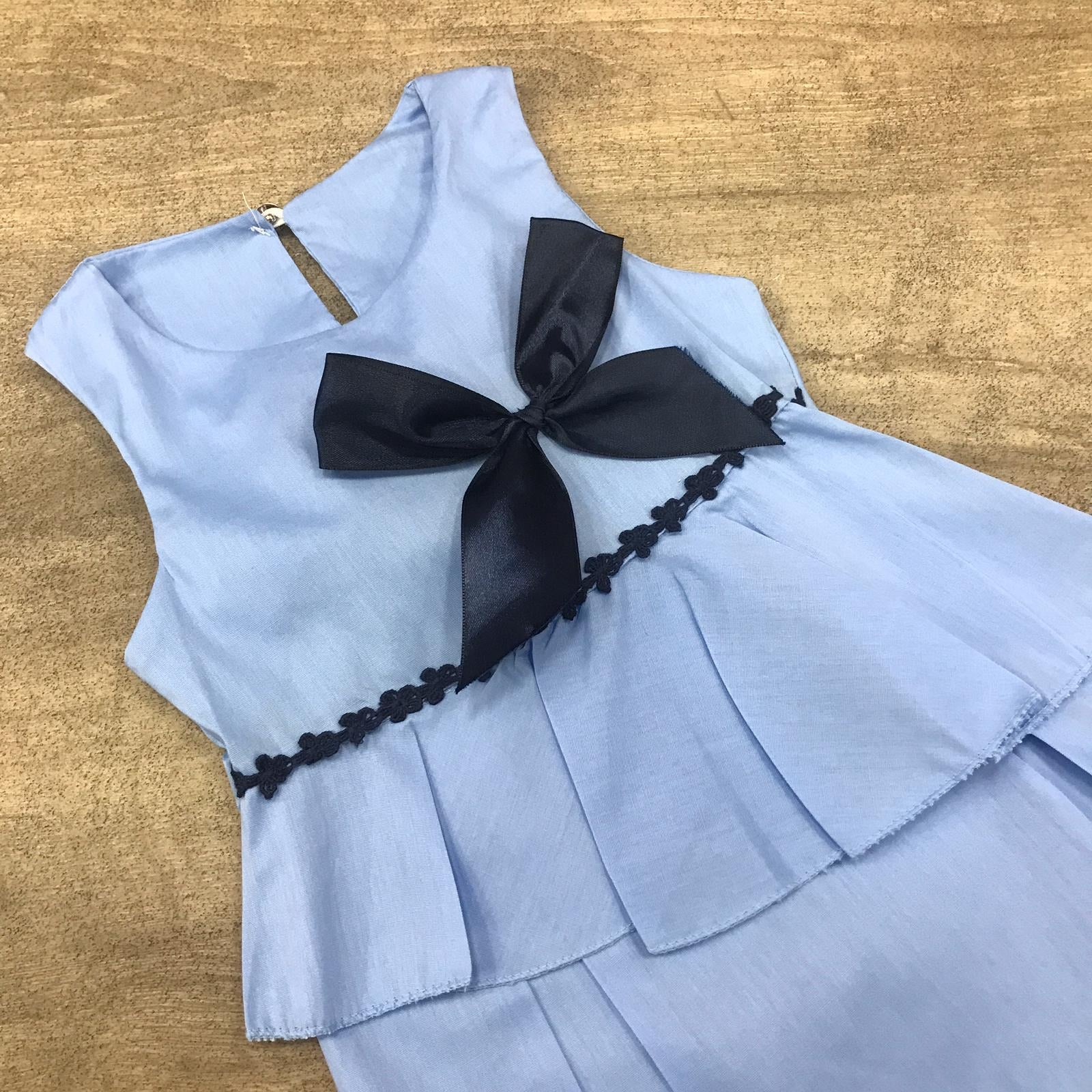 Flared Cotton Cornflower Blue Bow Dress