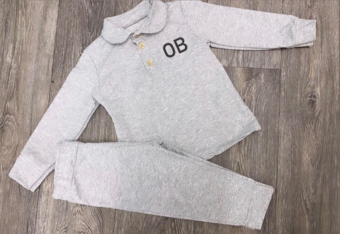 Boys Grey Polo Set - Personalisation Available