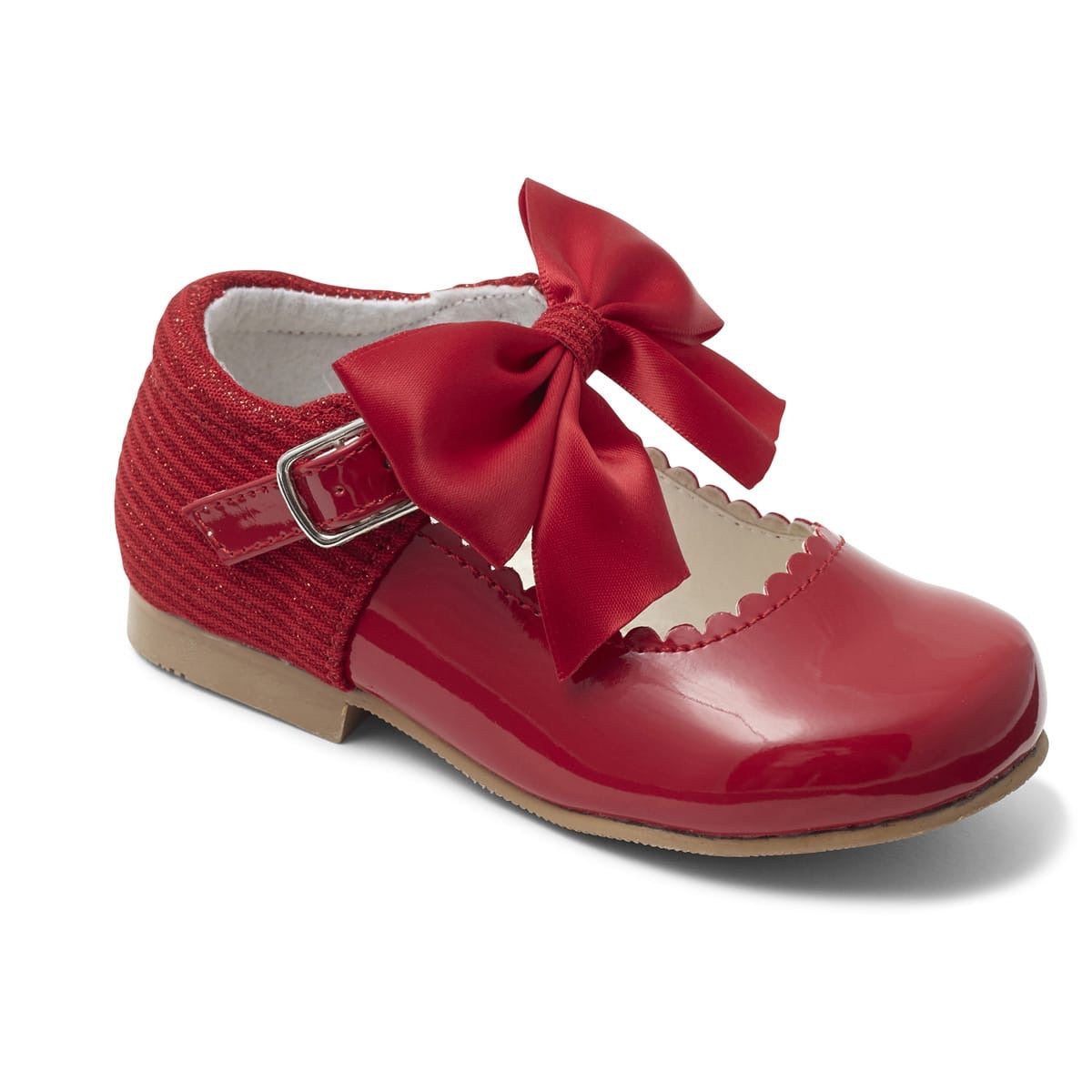 Kristy Red Bow Hard Sole Shoes