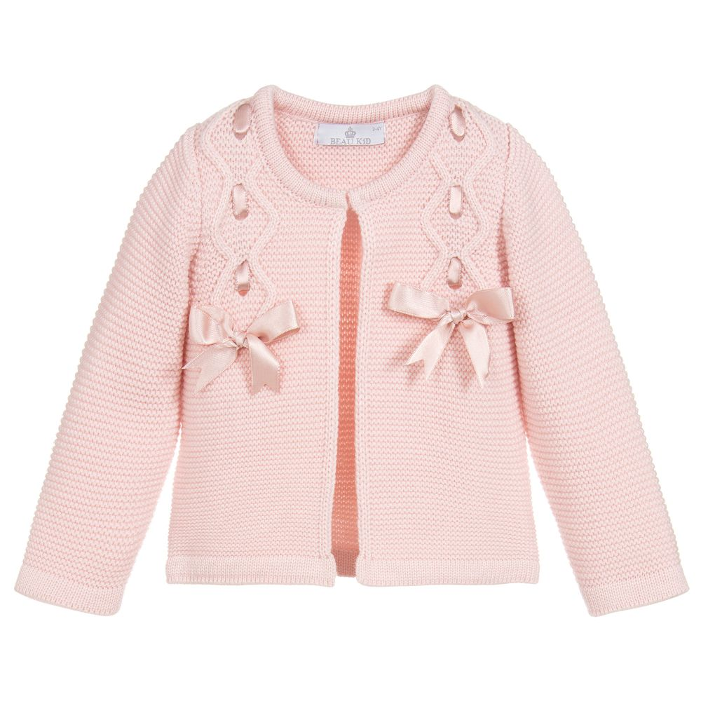 Beau Kid Bow Cardigan Pink