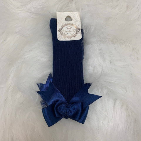 Navy Couche Tot Bow Socks