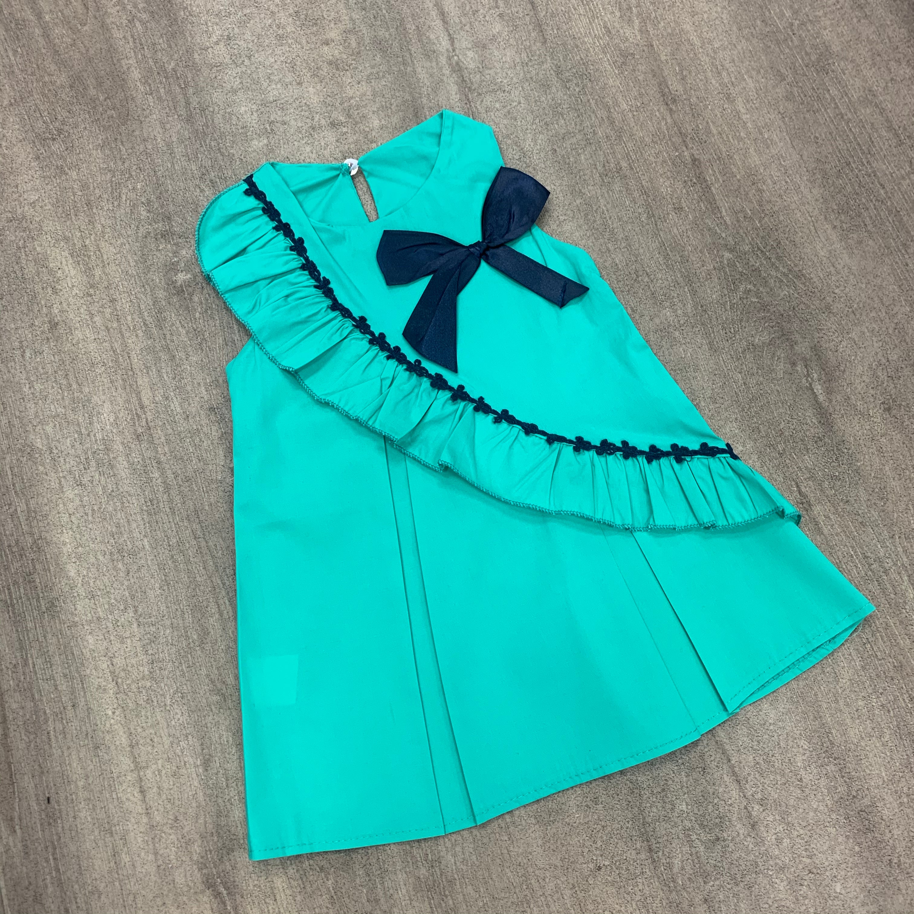 Pleated Cotton Green Bow Dress