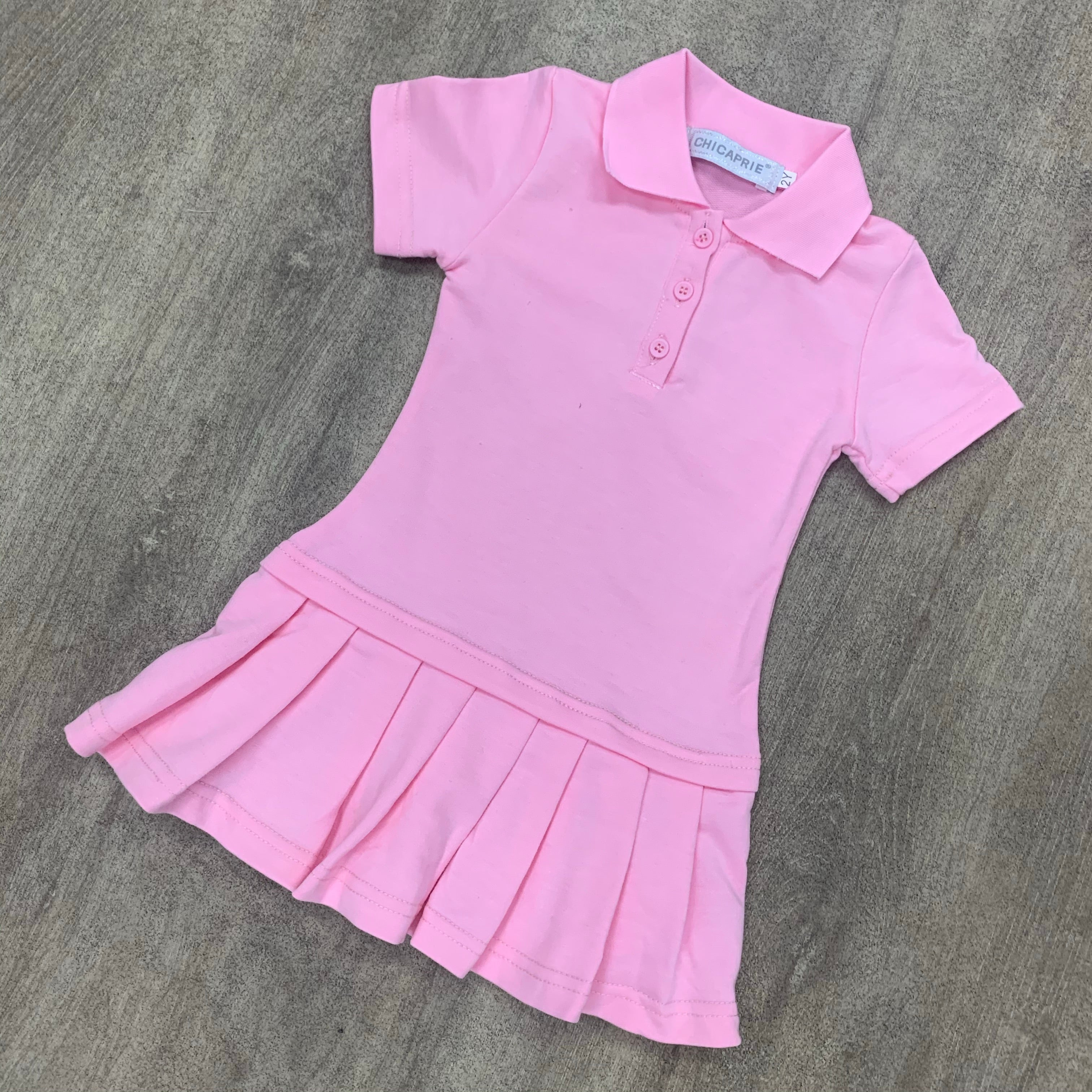 Personalised Pleated Polo Dress Pink