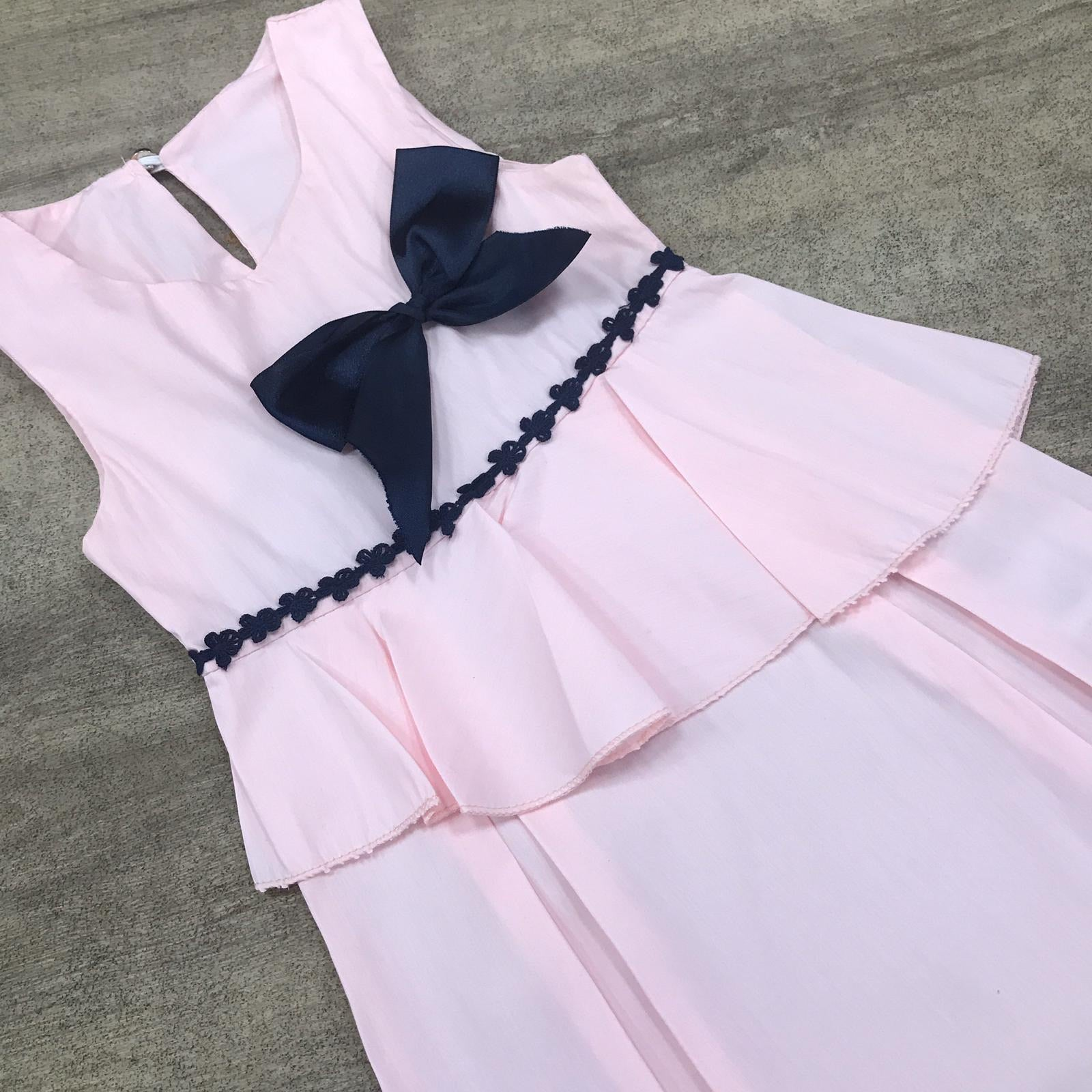 Flared Cotton Pink Bow Dress