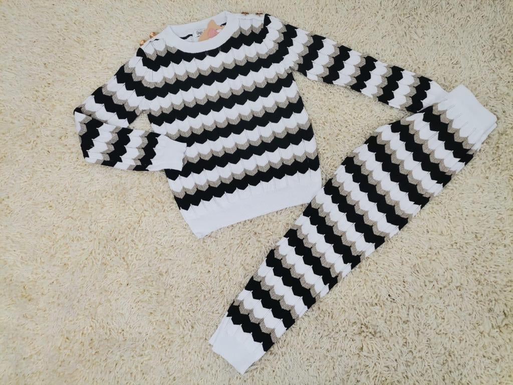 Cosy Striped Loungesuit Black