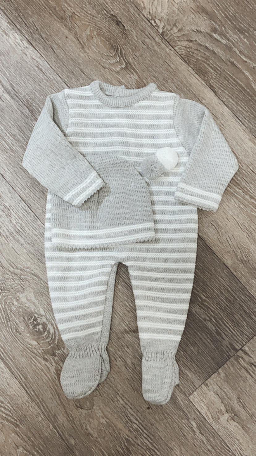 Unisex Knitted Pom Pom Set Grey with White Stripes