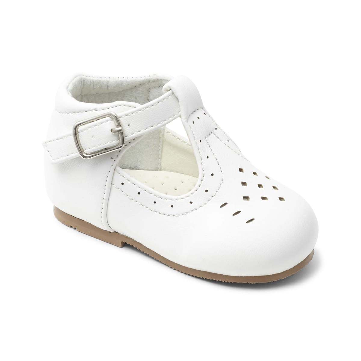 Boys White Matte T Bar Aaron Shoe