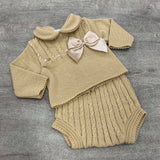 Amelia 2 Piece Knitted Bow Set - Camel