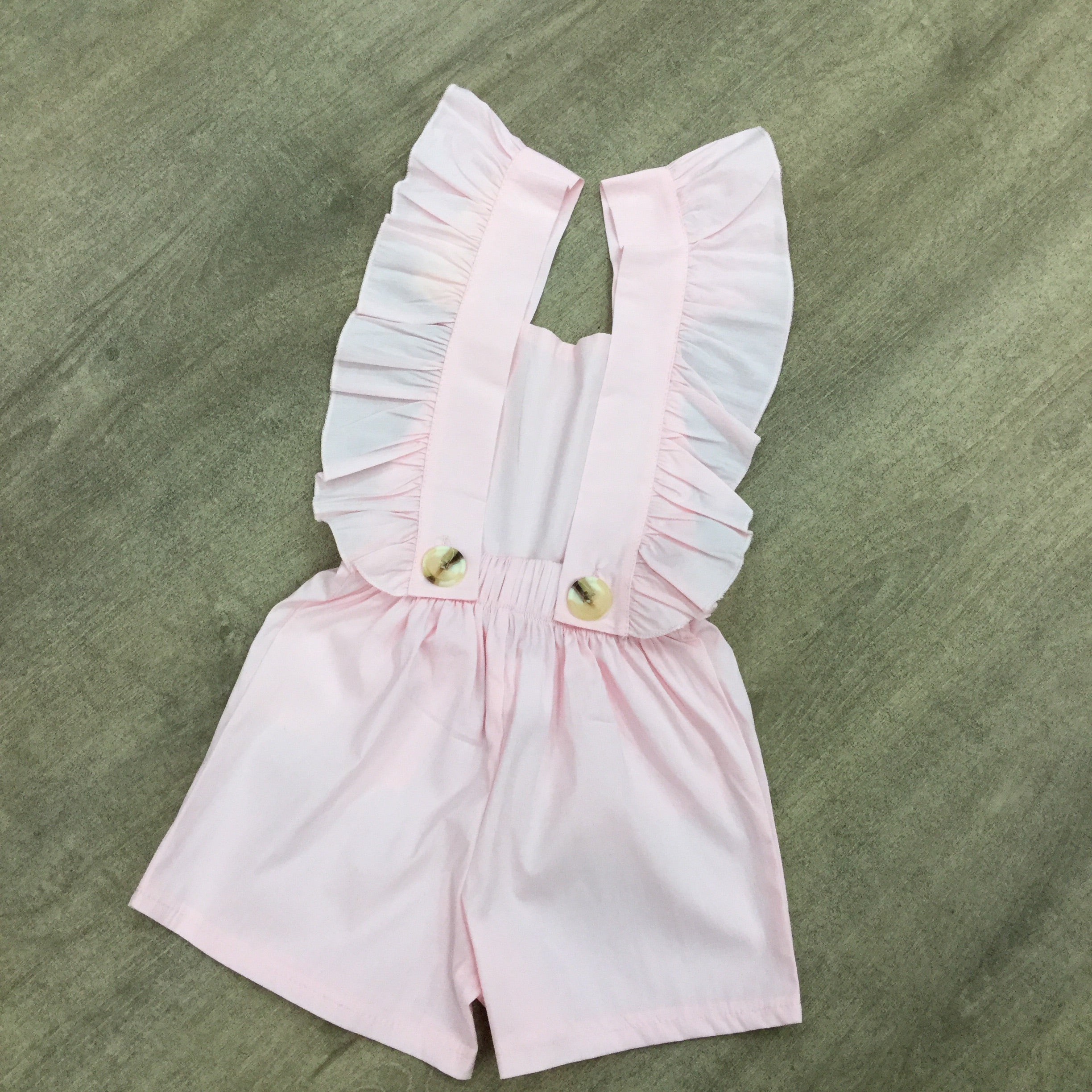 Backless Ruffle Dungarees Pink