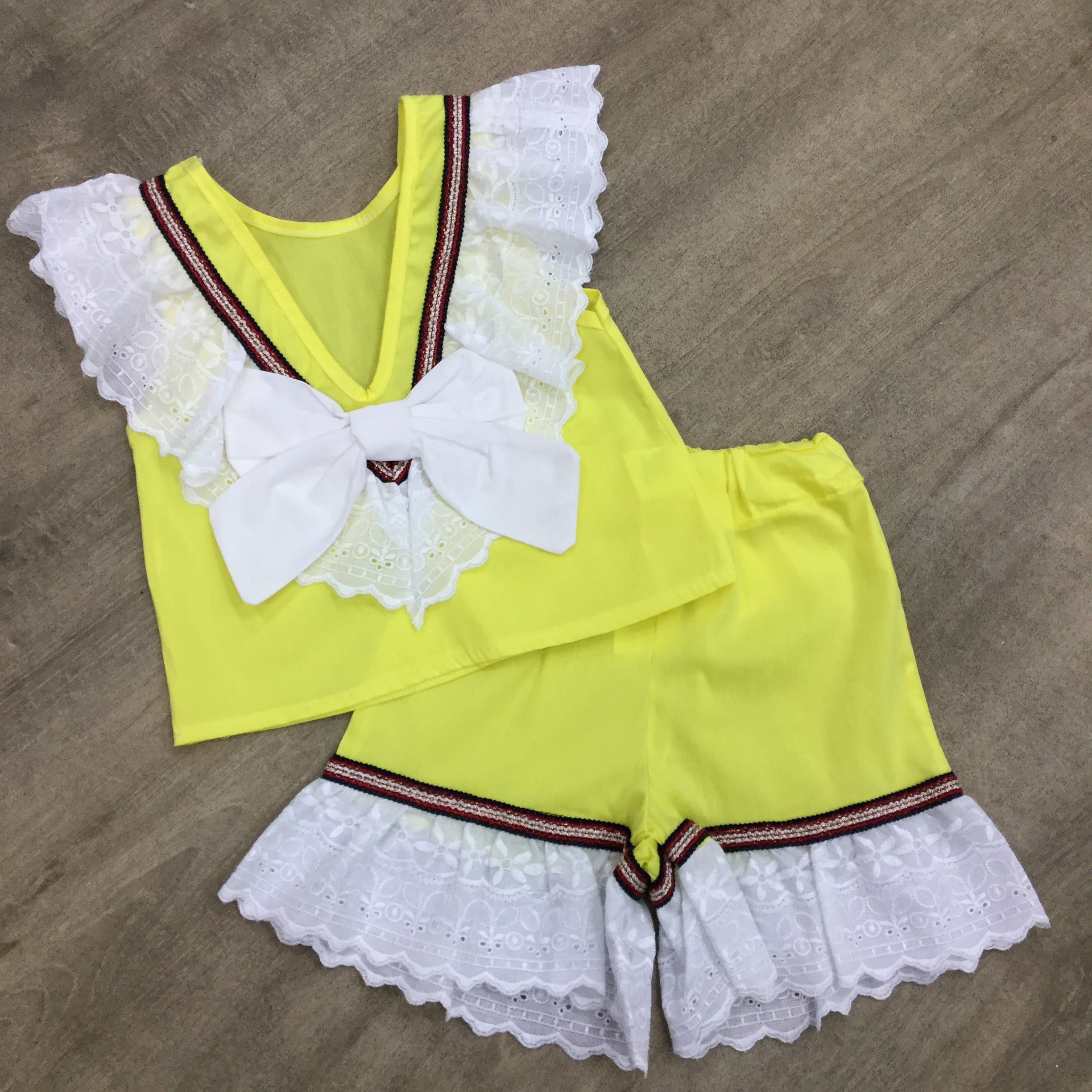Lemon Lace Bow Short Set