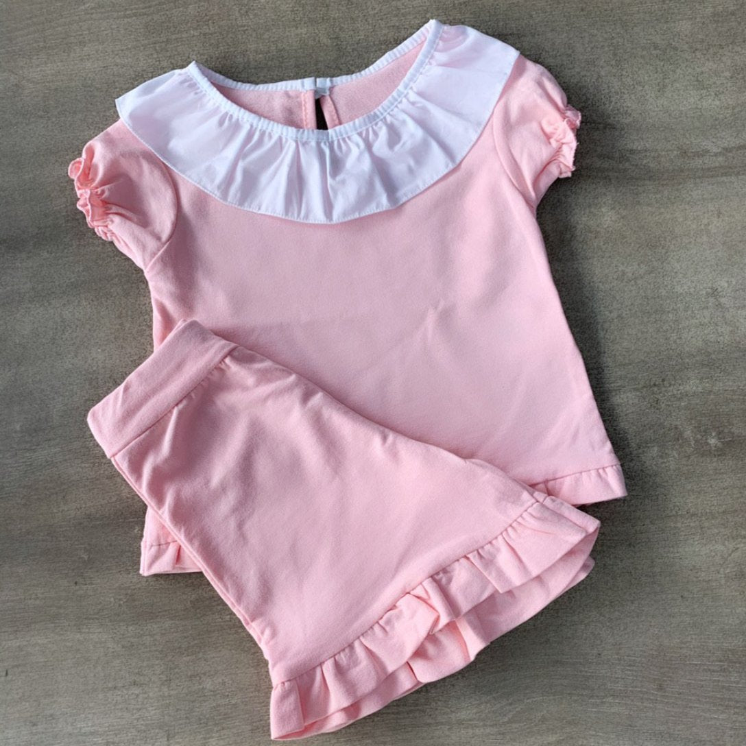 Pink Ruffle Collar Jersey Short Set