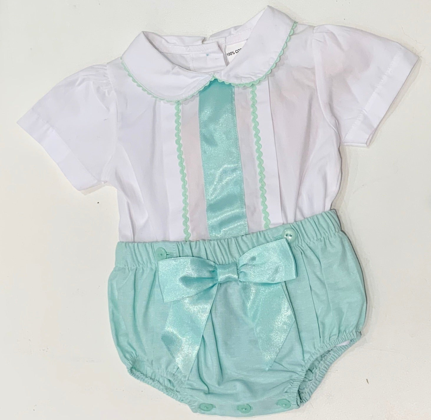 Mabini Mint Green Bow Romper Set