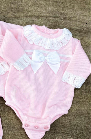 Bella Knitted Pink Bow Romper