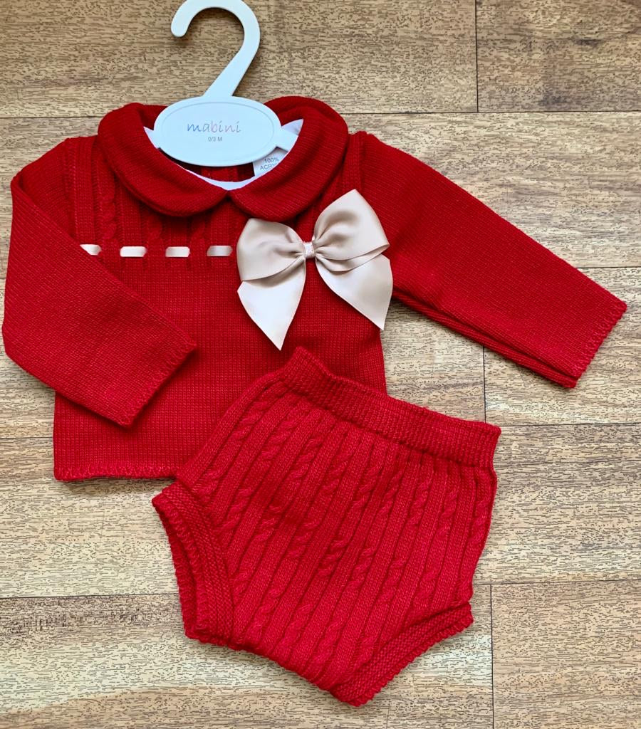 Amelia 2 Piece Knitted Bow Set - Red Camel