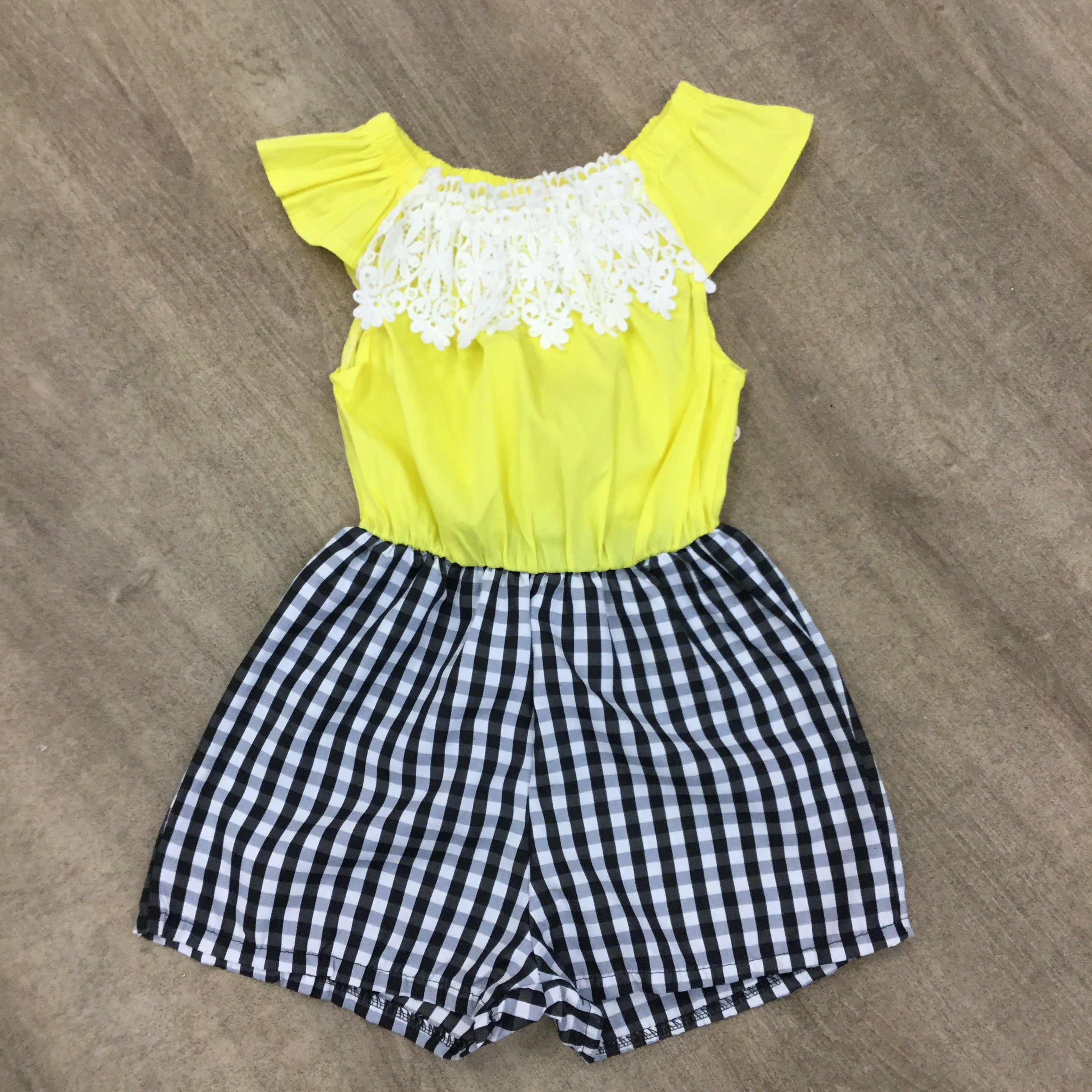 Yellow and Navy Gingham Lace Playsuit