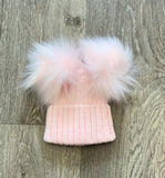 Deluxe Double Pom Pom Hat Pink