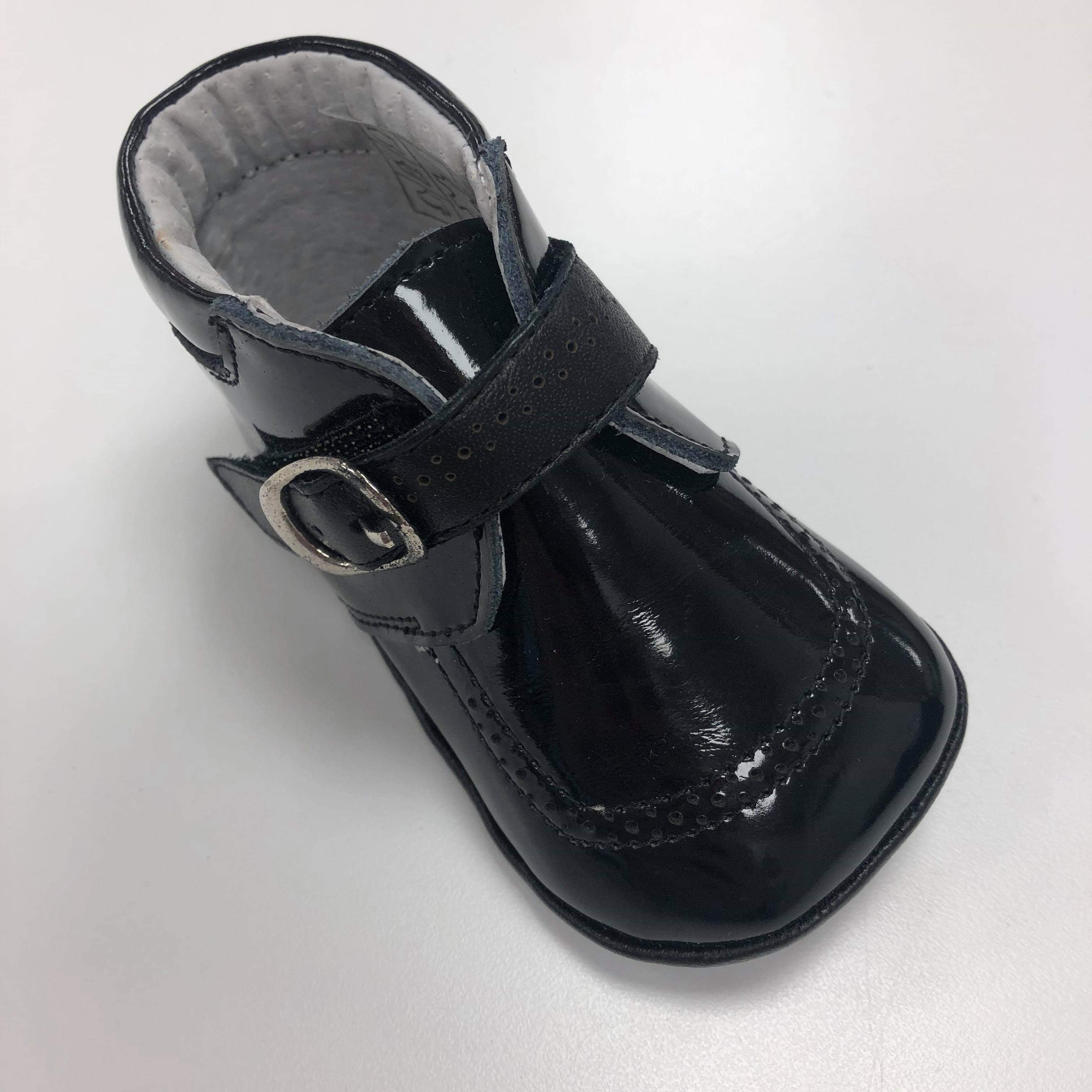Leather Boys Soft Sole Pram Shoes Black