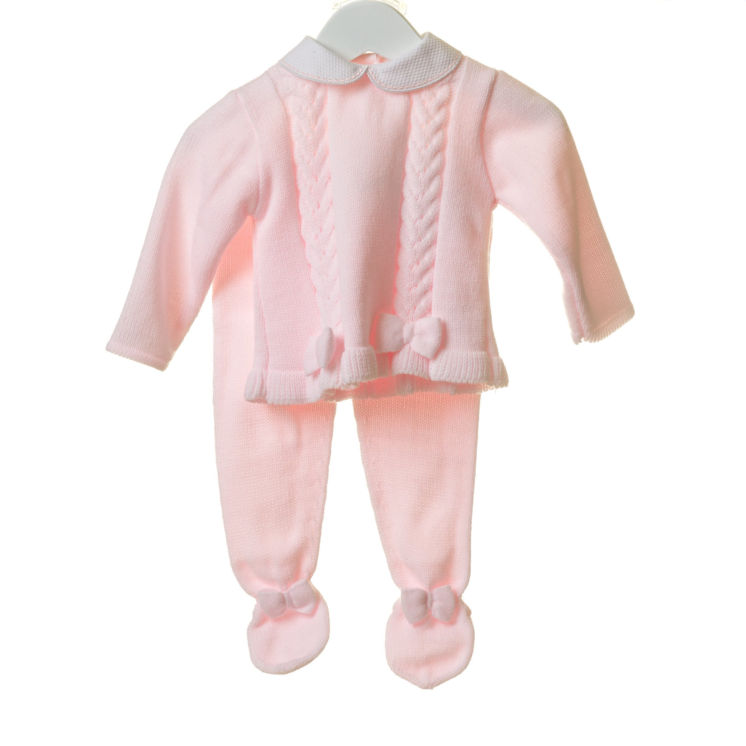 Blues Baby Pink Bow Knitted Set