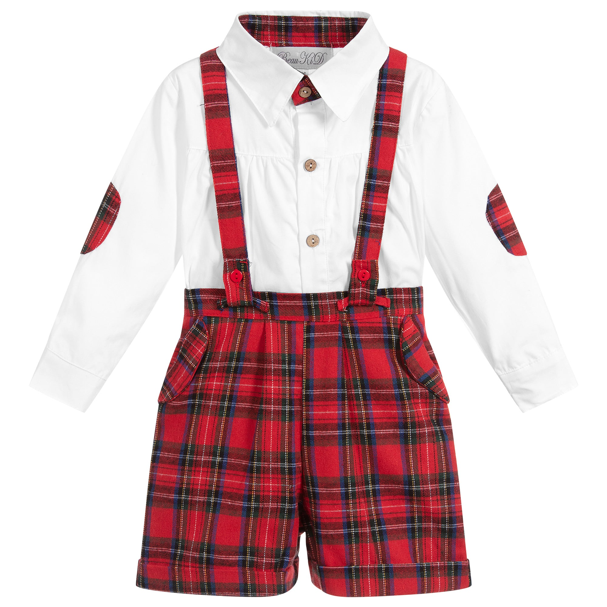 Beau Kid Boys Red Tartan Set