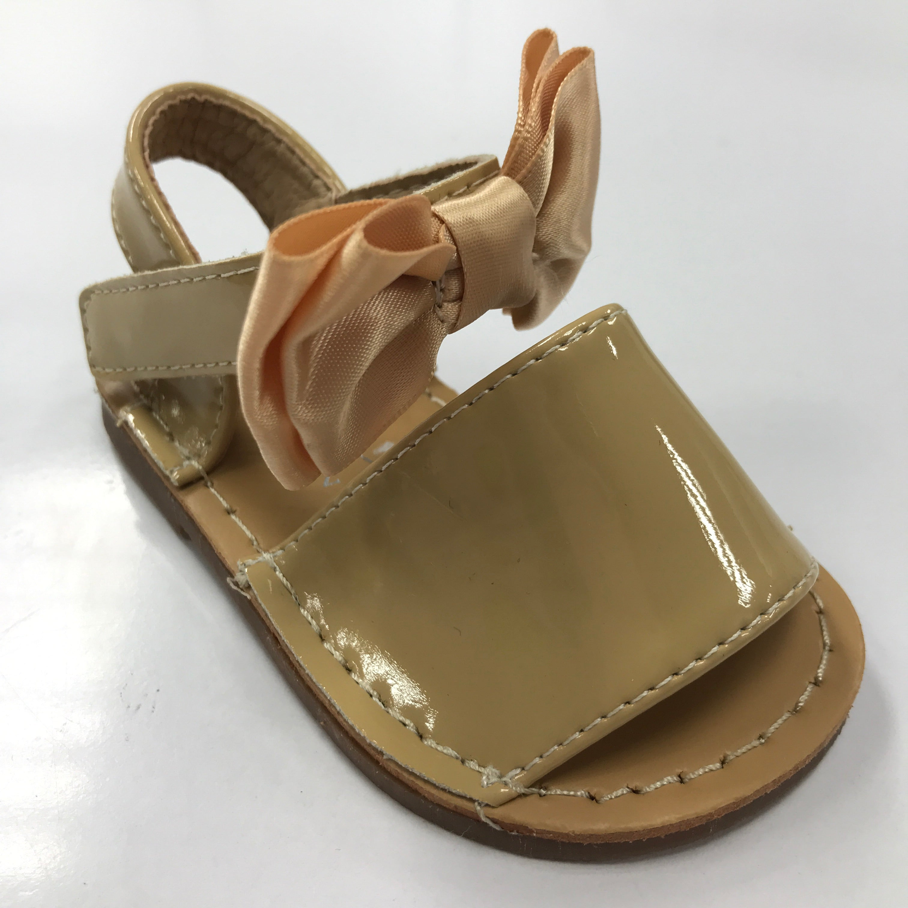 Patent Bow Sandals Camel