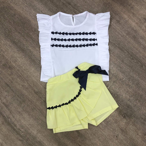 Lemon Pleated Skort Set